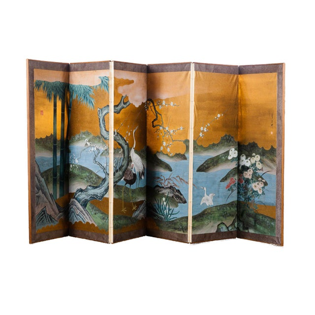 """Sung Tze-Chin Chinoiserie Hanging Screen Ink on Gold Foil """"Red-Crowned Cranes at the River"""" For Sale - Image 10 of 12"""
