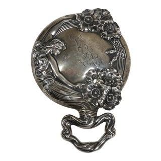 Antique Art Nouveau Sterling Silver Hand Mirror For Sale