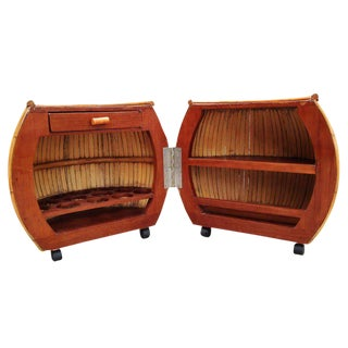 Restored Large 1940s Rattan and Mahogany Pumpkin Bar For Sale