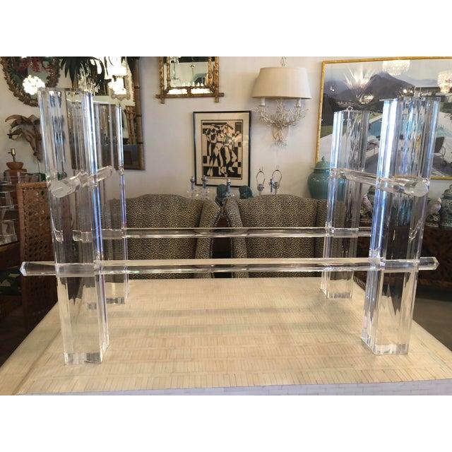 Hollywood Regency Vintage Hollywood Regency Lucite Dining Table or Desk Base For Sale - Image 3 of 13