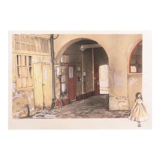 'Courtyard Interior, Paris' by Denis Paul Noyer, Lyon Ecole Des Beaux Arts, Paris For Sale