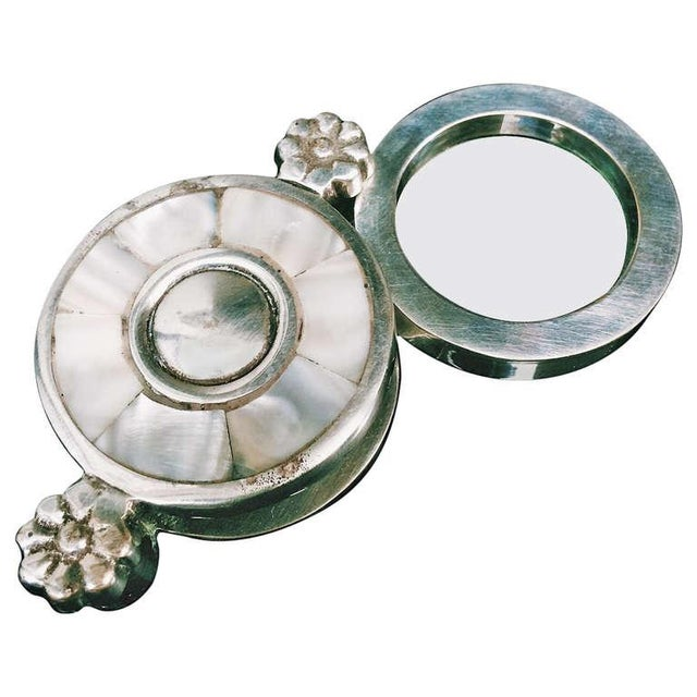Mother of Pearl Plate & Silver Magnifying Glass For Sale