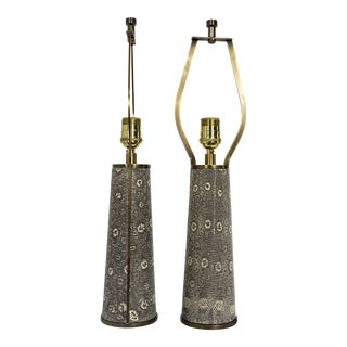 Lizard Skin & Bronze Borrego Lamps by Tuell + Reynolds - a Pair For Sale
