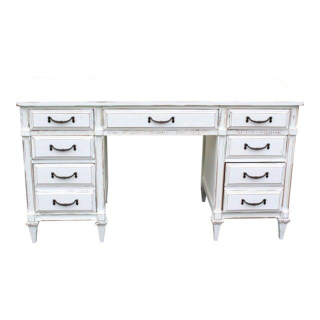 Mid-Century White Desk - Image 1 of 7
