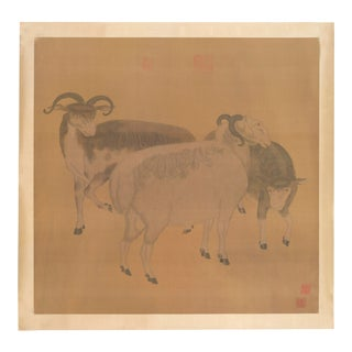 """The Goats"" Chinoiserie Ink on Paper Painting For Sale"