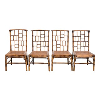 1970s Vintage Baker Furniture Rattan/Cane Chippendale Chairs- Set of 4 For Sale