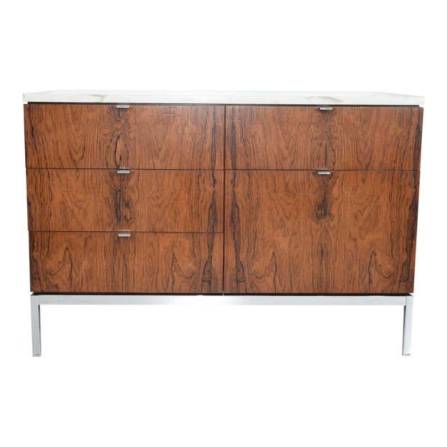 Florence Knoll Rosewood Credenza With Calacatta Marble Top For Sale
