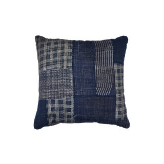Indigo Patchwork Pillow in Blue For Sale