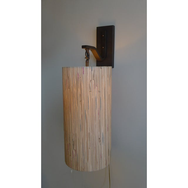 Modern Sconce with Custom Grasscloth Shade - Image 6 of 9