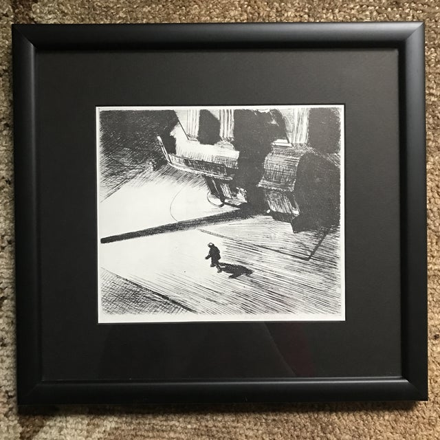 Nicely framed and matted black and white etching of a man walking down an empty street. Framed with Truguard glass and in...