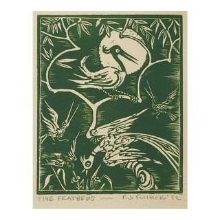 1932 Frank Follmer Fine Feathers Bird Wood Block Print