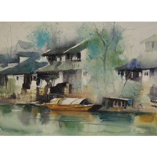Original Watercolor Painting of Ancient Chinese Water Town For Sale