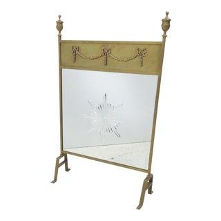 Brass Mirrored Firescreen For Sale