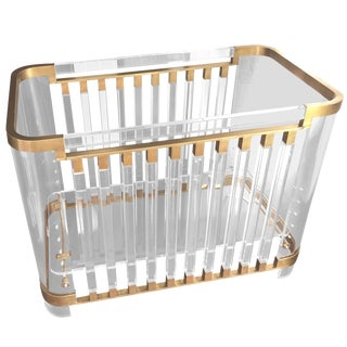 """""""Lithe"""" Lucite & Brass Baby Crib by Amparo Calderon Tapia, Limited Edition of 12 For Sale"""