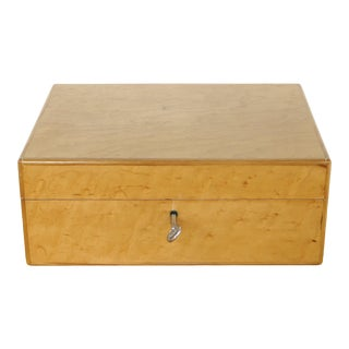 Vintage Italian Burlwood Cigar Humidor Lined in Cedar For Sale