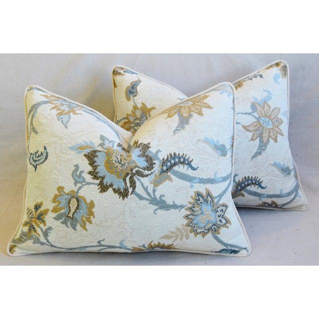 "Designer Italian Floral Linen Velvet Feather/Down Pillows 24"" X 18"" - Pair For Sale - Image 13 of 13"