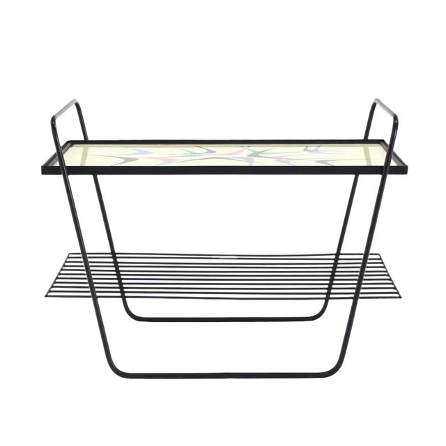 Abstract Design Glass Top Wire Shelf Mid-Century Modern Side Table Tray For Sale
