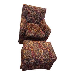Mid-Century Dark Burgundy Brocade Tapestry Chair & Ottoman For Sale