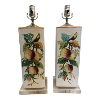 Capadimonte Hand Painted Lamps - a Pair For Sale