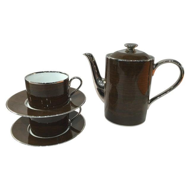 Marc Blackwell Mahogany Coffee Pot & 2 Coffee Cups - Image 1 of 7
