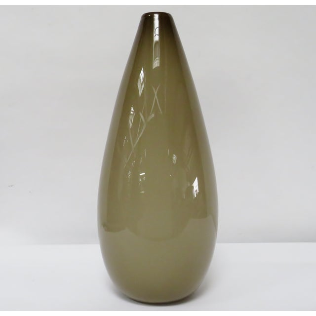 Transitional Tall Mid Century Taupe Blown Glass Vase For Sale - Image 3 of 5