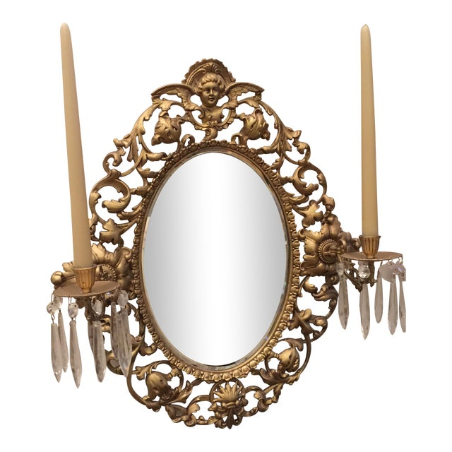Antique Gold Mirror With Crystal Candles - Image 1 of 10