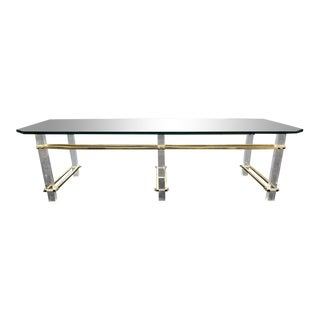 Charles Hollis Jones Lucite, Brass and Glass Coffee Table For Sale