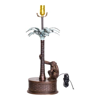 Mid Century Modern Bronze Monkey Palm Table Lamp Maitland Smith For Sale