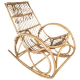 Image of Restored Oversized Stick Rattan Rocking Chair in the Style of Franco Albini For Sale