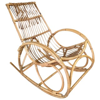 Restored Oversized Stick Rattan Rocking Chair in the Style of Franco Albini For Sale