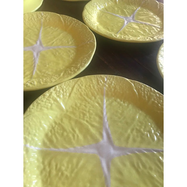 Ceramic Vintage Secla Yellow Cabbage Dinner Plates From Portugal- Set of 8 For Sale - Image 7 of 10