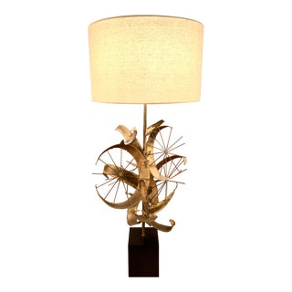 1970s Brutalist Brazed Brass Jere Table Lamp by Laurel For Sale