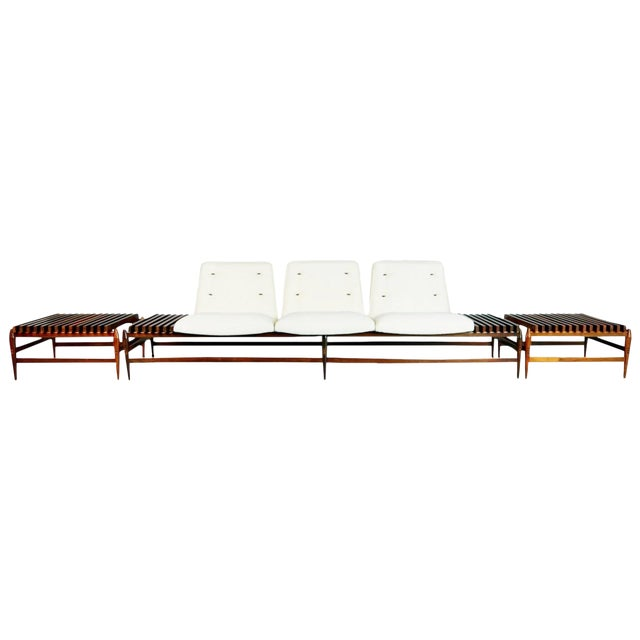 1950s Liceu De Artes E Oficios Jacaranda Sofa & Side Tables, Brazil - 3 Pc. Set For Sale