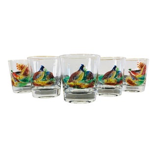 1960s Pheasant Low Bar Glass Tumblers, Set of 5 For Sale