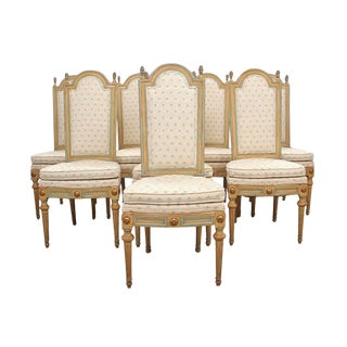 1970s French Louis XVI Style Dining Chairs - 8 Pieces For Sale