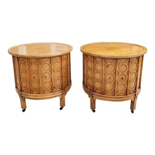 Mid-Century Modern Brutalist Drum End Tables - a Pair For Sale