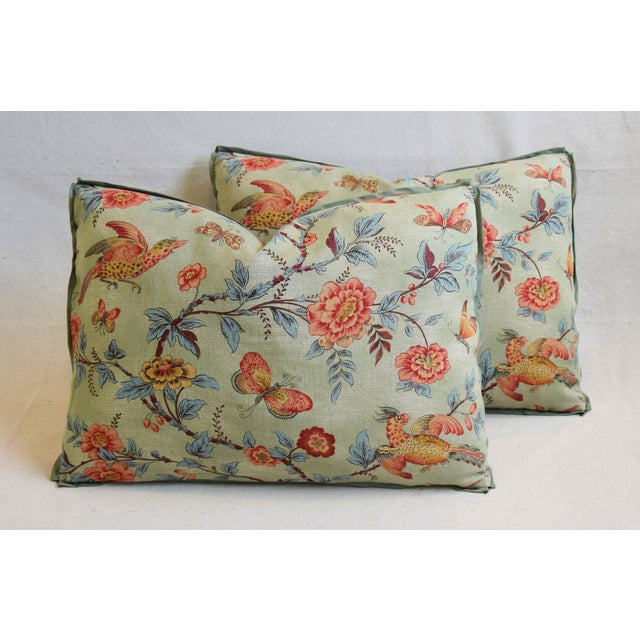 "Cotton Designer Jasper Wallace Floral Vine Feather/Down Pillows 23"" X 16"" - Pair For Sale - Image 7 of 13"