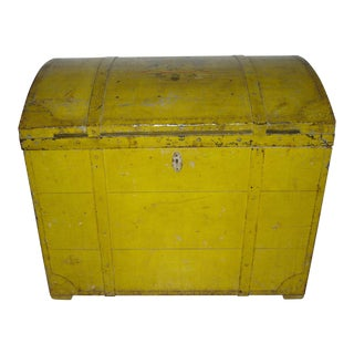 19th Century Rustic Painted Dome Top Blanket Chest For Sale