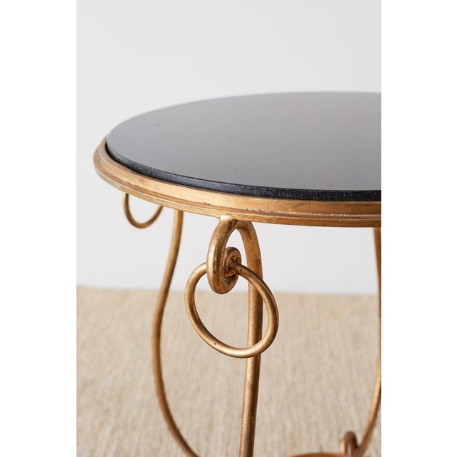 Giltwood Rene Drouet Style Gilded Iron and Granite Table For Sale - Image 7 of 13