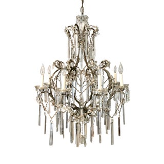 Antique Italian Crystal 8-Light Beaded Chandelier For Sale