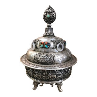 19th Century Mongolian Silver Censor For Sale