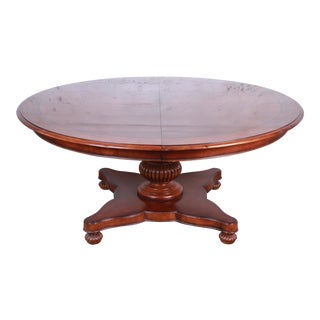 Baker Furniture Milling Road Collection Neoclassical Banded Mahogany Pedestal Dining Table For Sale