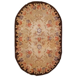 1930s handmade antique American Hooked rug 2,8' X 4,3' For Sale