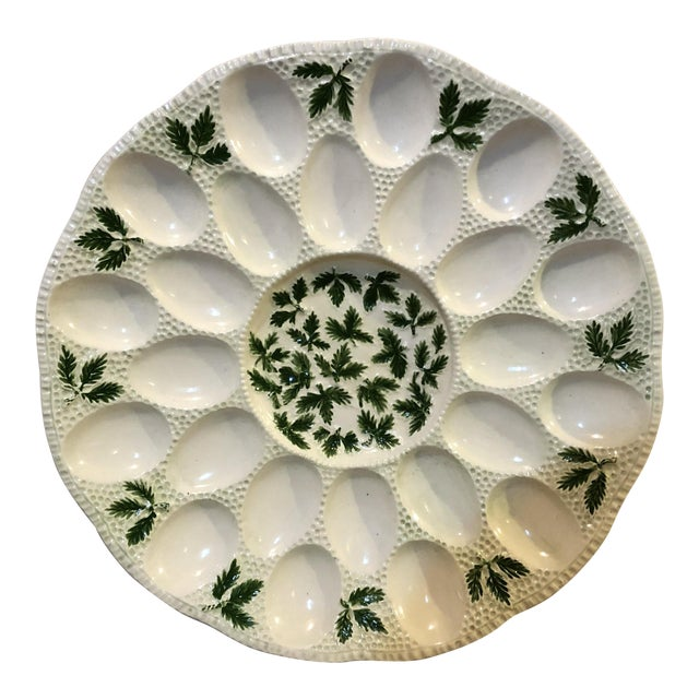1960s Cottage White Ceramic Egg Plate For Sale