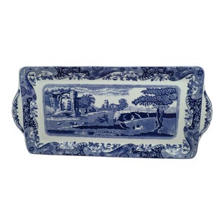"English Traditional Spode England ""Italian"" Blue & White Transferware Sandwich Tray"