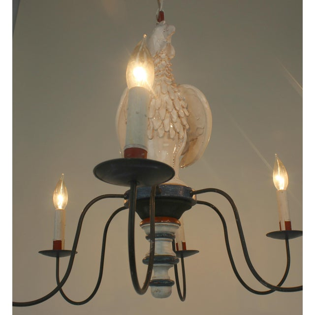 "Blue Country French ""Rooster"" Chandelier For Sale - Image 8 of 11"