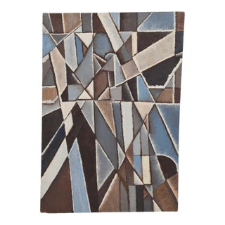 Mid-Century New York School Abstract Modernist Cubist Oil Painting, 1960s For Sale