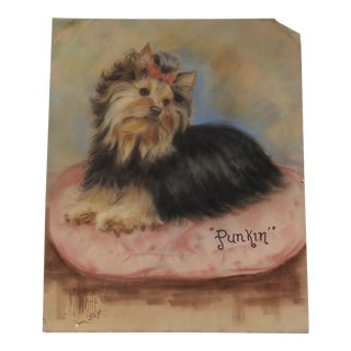 Vintage Pastel of a Yorkie Painting by Mary Blaney White