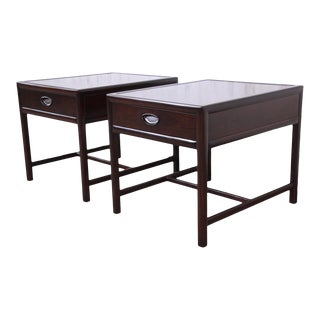 Michael Taylor for Baker Dark Cherry Nightstands or End Tables, Newly Restored - a Pair For Sale