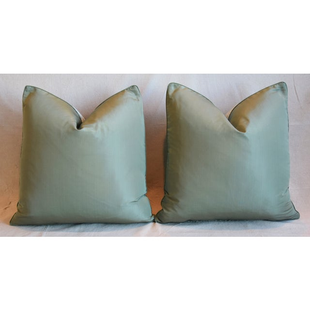 """Clarence House Velvet Fabric Feather/Down Pillows 21"""" Square - Pair For Sale - Image 10 of 13"""